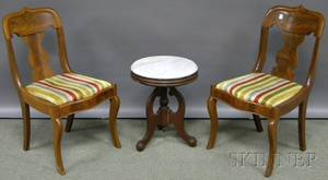 Pair of Empire Mahogany Side Chairs and a Victorian White Marbletop Walnut Tabouret