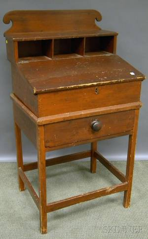 Country Federal Redstained Pine Slantlid School Masters Desk on Frame