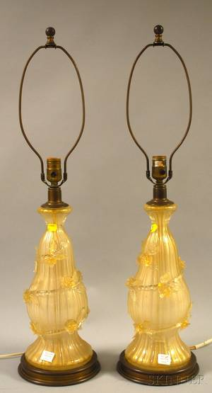Pair of Italian Murano Art Glass Table Lamps