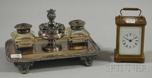 Waterbury Clock Co Brass Carriage Clock and a Silverplated Inkstand
