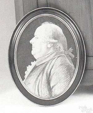 Charcoal and pastel on paper oval profile portrait of a gentleman late 18th c