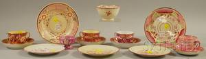 Fifteen Pieces of Assorted English Pink Lustre Tableware
