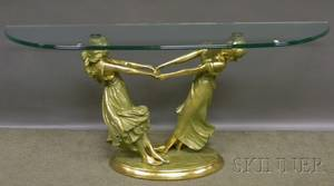 Modern Glasstop Dshaped Console Table with Cast Brass Young Maidens Dancing Figural Base