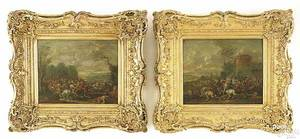 Pair of British oil on panel battle scenes early 18th c