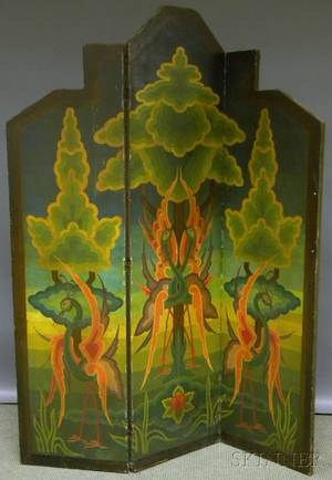 Art Deco Polychromepainted Canvas Threepanel Floor Screen