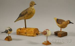 Four Assorted Carved Wood Bird Figures