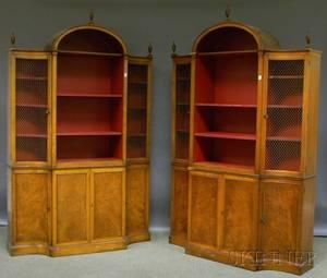 Pair of Neoclassicalstyle Mahogany Veneer Book Cabinets