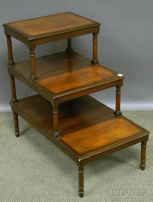 Georgianstyle Mahogany Library Steps with Gilttooled Leatherinset Treads