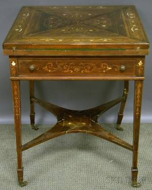 Italianate Inlaid Mahogany Games Table