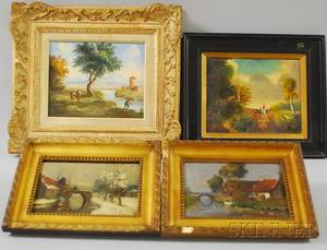Four Small Framed European Landscape Oil on Board Works