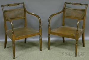 Pair of Regencystyle Mahogany Armchairs with Caned Backs