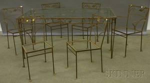 Sevenpiece Glass and Metal Vine Pattern Patio Set