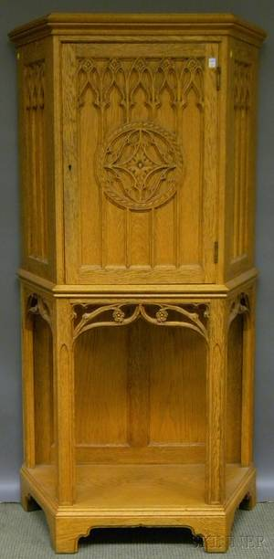 Victorian Gothic Revival Carved Oak Sheet Music Cabinet
