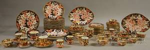 Seventysix Assembled Pieces of Crown Derby Imaripalette Porcelain Dinnerware