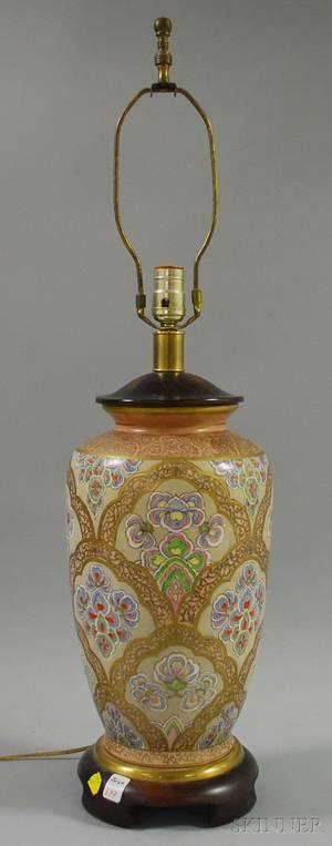 Chinese Export Gilt and Polychrome Enameldecorated Porcelain VaseTable Lamp