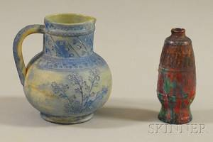 Delft Iridescent Drip Glaze Art Porcelain Vase and an Early Rookwood Pottery Jug