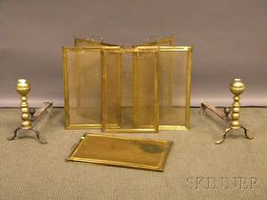 Pair of Brass Belted Balltop Andirons and a Pair of Brass and Brass Wire Folding Firescreens