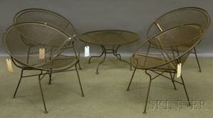 Set of Four Woodard Midcentury Modern Design Metal Patio Chairs and Small Low Table