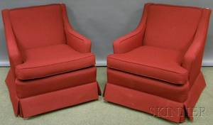 Pair of Midcentury Modern Upholstered Armchairs