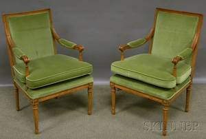 Pair of Louis XVIstyle Upholstered Carved Beechwood Fauteuils