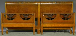Pair of Joseph Gerte Co Neoclassicalstyle Carved Maple and Burl Veneer Twin Beds