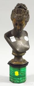European Patinated Cast Metal Bust of a Maiden with an Octagonal Malachite Pedestal
