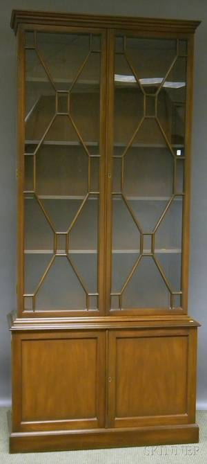 Kittinger Federalstyle Glazed Mahogany Stepback Book Cabinet