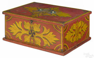 Pennsylvania painted pine lock box dated