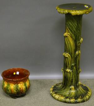 Majolica Glazed Art Pottery Pedestal Jardiniere and an Italian Faience Covered Centerpiece