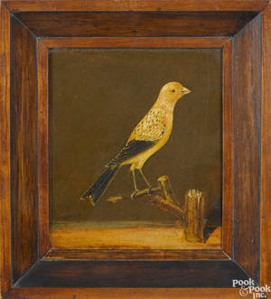 Pair of oil on board works of songs birds late 19th c