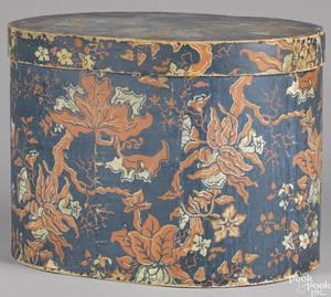Large Pennsylvania wallpaper hat box 19th c