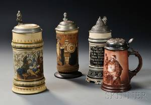 Three German Stoneware Steins and a Sterling Silver Lidded Porcelain Stein