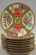 Eleven Chinese Export Porcelain Rose Medallion Pattern Dinner Plates