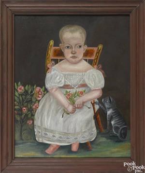 American oil on canvas folk portrait ca 1840