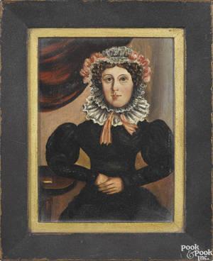 Pair of oil on panel folk portraits 19th c
