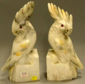 Pair of Italian Carved Alabaster Cockatoo Figural Bookends