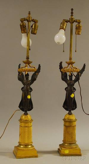Pair of Neoclassical Patinated and Giltbronze Figural CandlestickTable Lamps