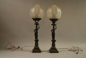 Pair of Classical Patinated Cast Bronze Figural Lamps with Frosted Glass Globe Shades