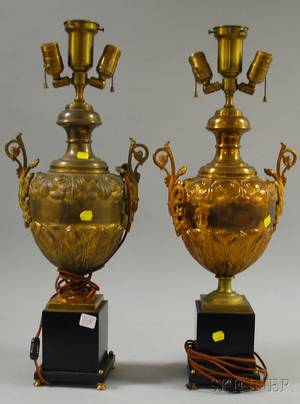 Pair of Empirestyle Brass Urnform Table Lamps