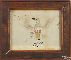 Pennsylvania ink and watercolor drawing of a spread wing eagle dated