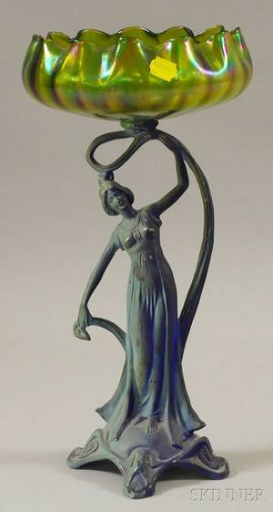 Art Nouveau Iridescent Green Art Glass and Painted Cast Metal Figural Compote