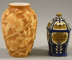 Mettlach Ceramic Jar with Cover and a Phoenix Art Glass Vase