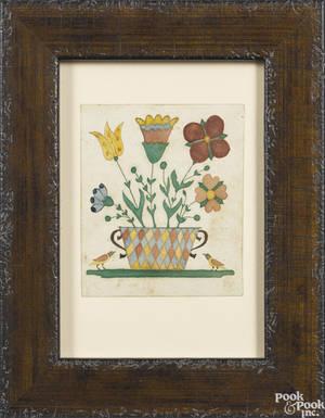 Pennsylvania watercolor fraktur bookplate 19th c