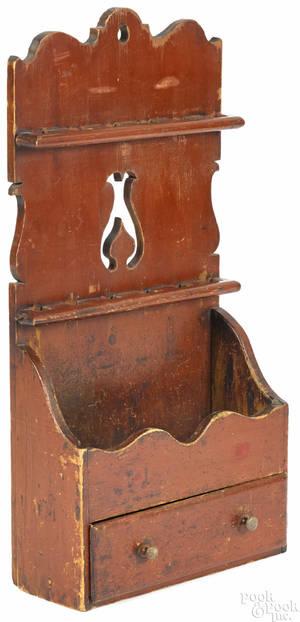Painted pine hanging spoon rack ca 1830