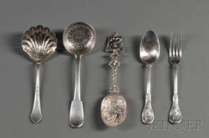 Five Pieces of Continental Silver Flatware