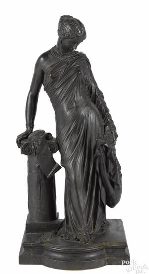 Patinated bronze classical figure with a lyre late 19th c