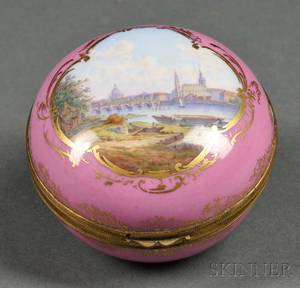 Meissen Porcelain and Giltmetalmounted Trinket Box with View of Dresden