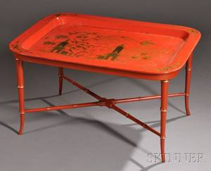 Red Lacquer and Giltdecorated Papiermache Tray on Stand