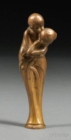 Peter Tereszczuk Austrian 18751963 Art Nouveau Figural Giltbronze Seal