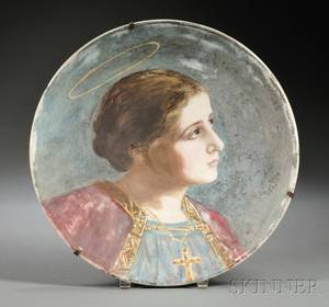 Italian Painted Glass Portrait Charger of St Cecilia